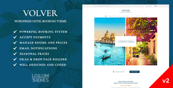 Volver Hotel - WordPress Hotel Booking Theme - Travel Retail