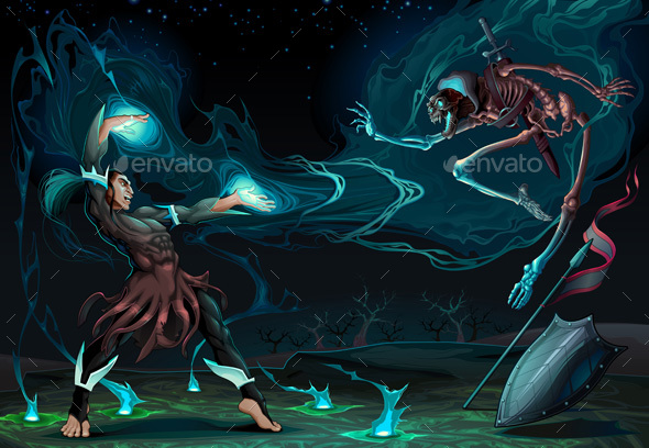 Fighting Scene Between Magician and Skeleton - Monsters Characters