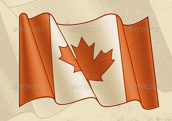 Vintage Canadian Flag - Objects Vectors