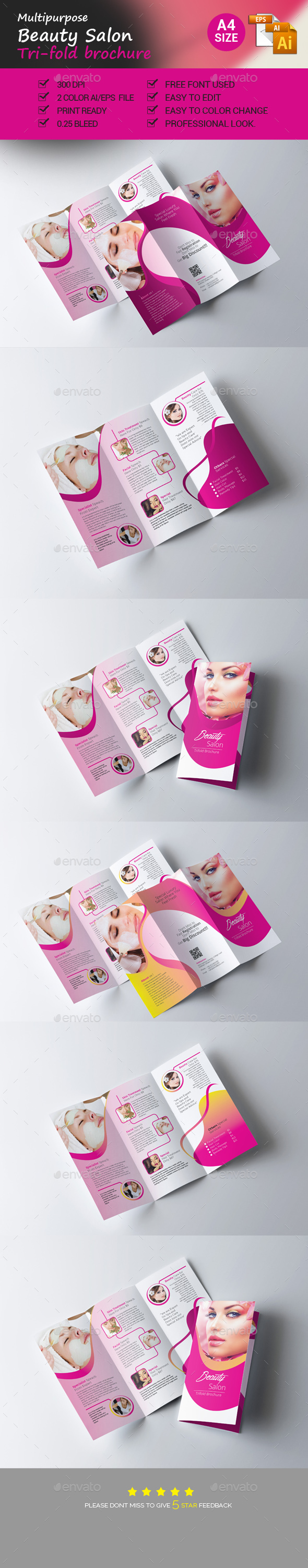 Beauty Salon Trifold Brochure - Brochures Print Templates