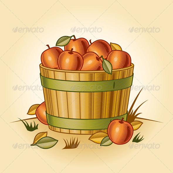 Retro Bushel Of Apples - Food Objects