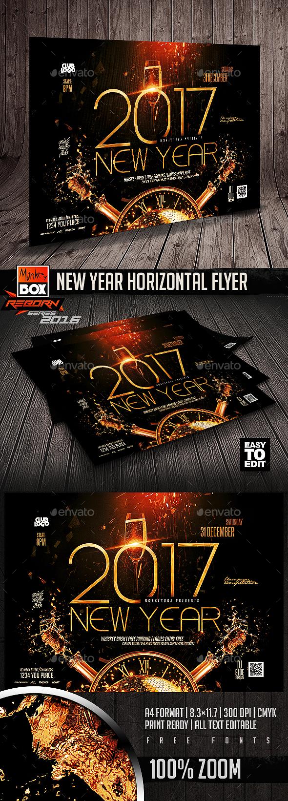 New Year Horizontal Flyer - Flyers Print Templates
