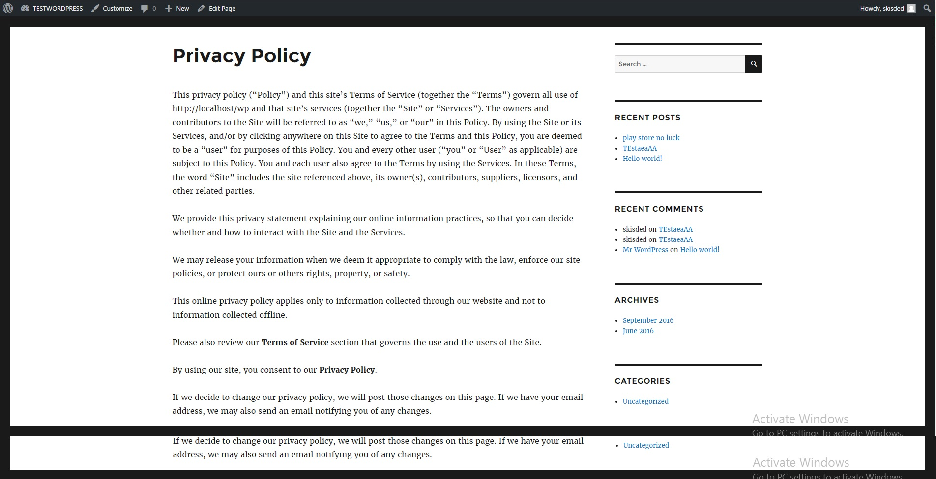 Privacy Policy: Privacy Policy / Terms Of Service Generator And