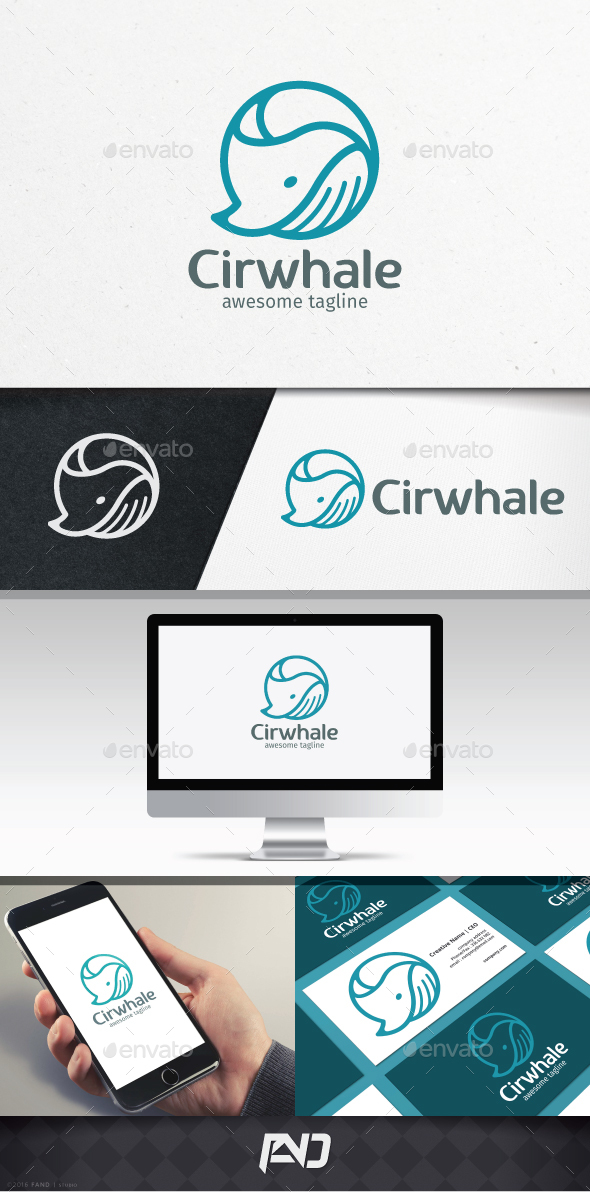 Circle Whale Logo Template - Animals Logo Templates