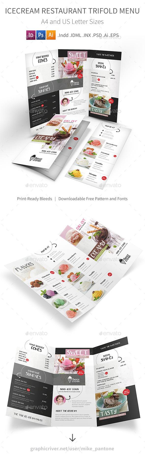 Ice Cream Restaurant Trifold Menu - Food Menus Print Templates