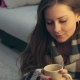 Smiling Pretty Woman in Blanket with Cup of Coffee - VideoHive Item for Sale