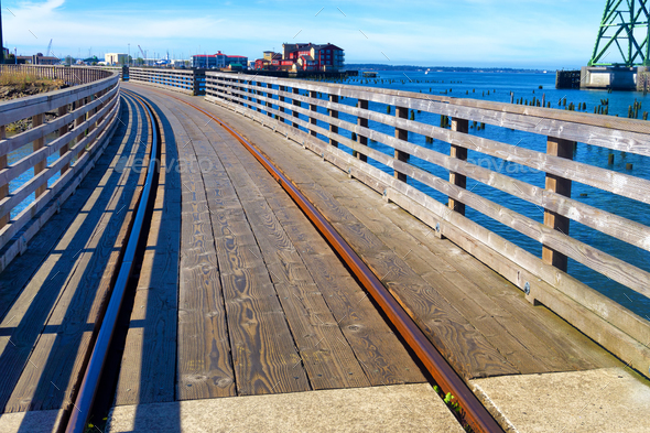 Trolly Tracks in Astoria - Stock Photo - Images