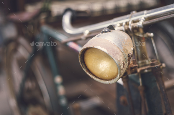Close up headlight of old vintage bicycle - Stock Photo - Images