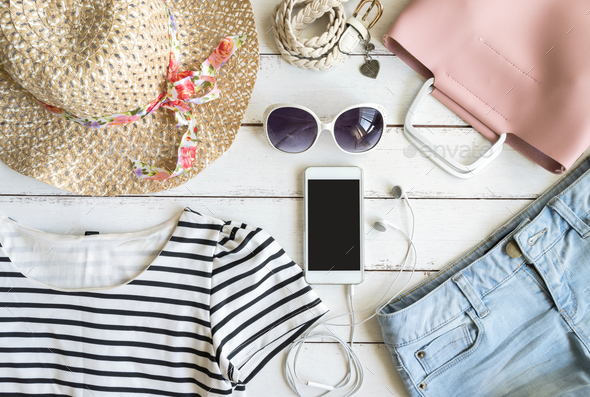 Overhead view of womens cloths and accessories - Stock Photo - Images