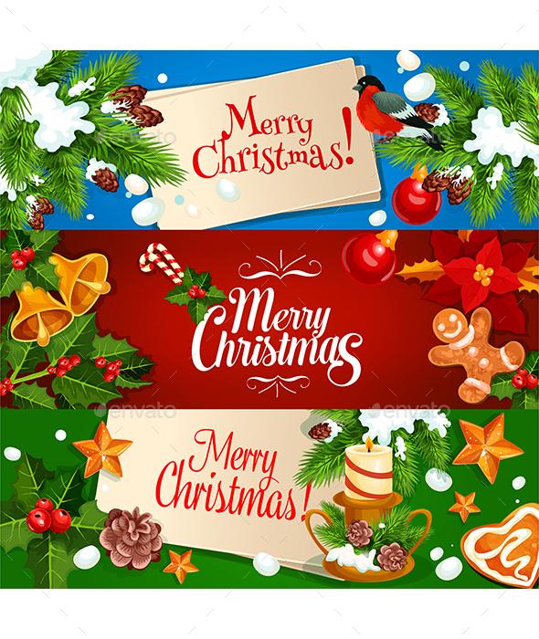 Merry Christmas Banner and Greeting Card Set - Christmas Seasons/Holidays
