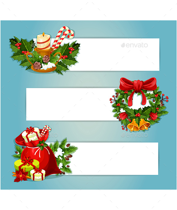 Christmas Banner Set with Gift and Holly Wreath - Christmas Seasons/Holidays