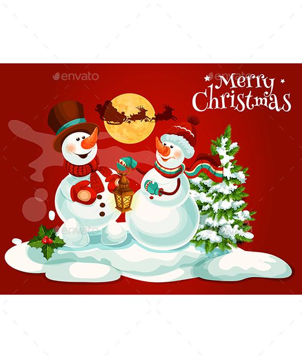 Christmas Snowman With Lantern Greeting Card - Christmas Seasons/Holidays