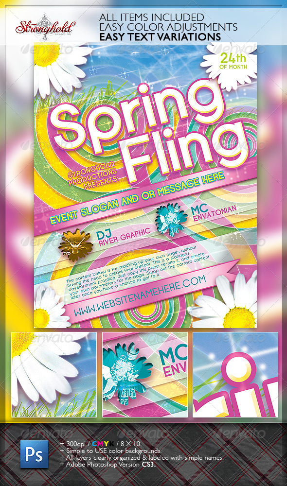 Spring Fling Dance Flyer Template - Clubs & Parties Events