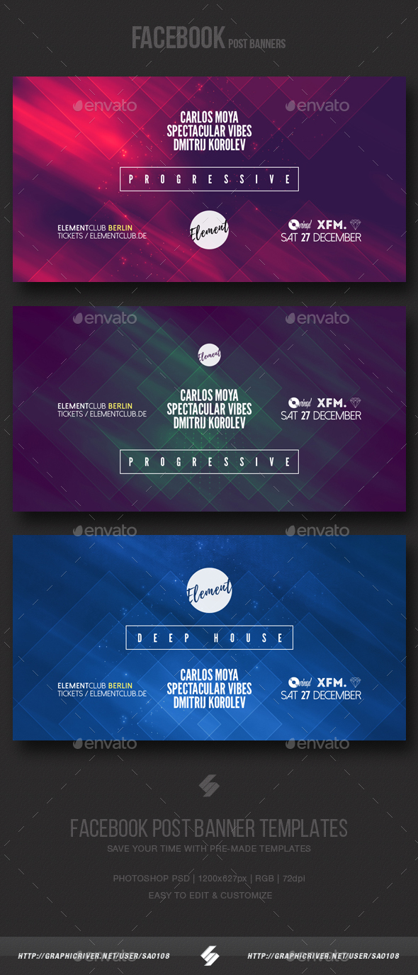 Electronic Music Party vol.6 - Facebook Post Banner Templates - Social Media Web Elements