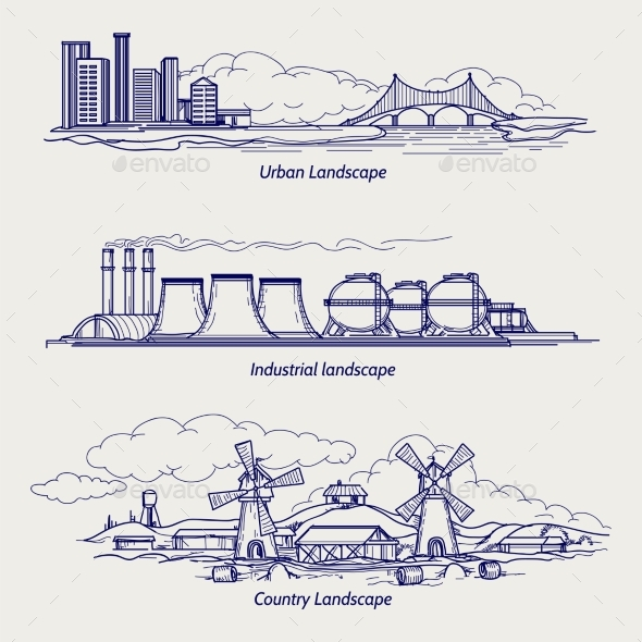 Sketch Urban Country and Industrial Ladscapes - Miscellaneous Conceptual