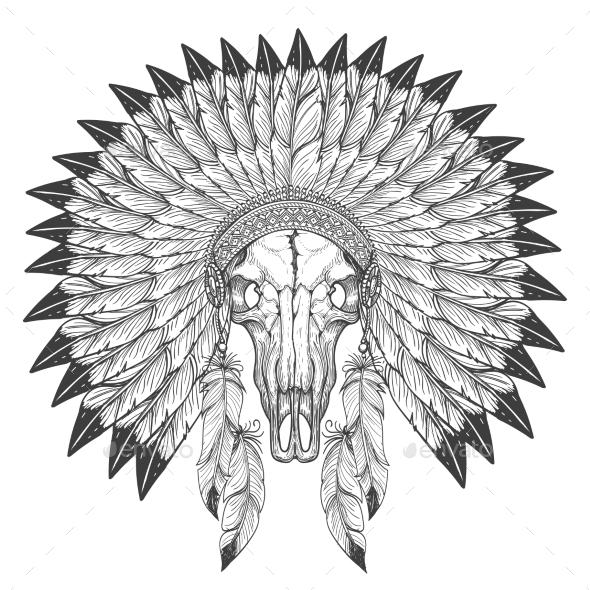 Buffalo Skull Sketch with Feather Headdress - Miscellaneous Conceptual