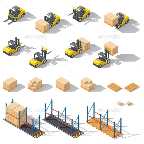 Storage Equipment Isometric Icon Set. Presented - Miscellaneous Vectors