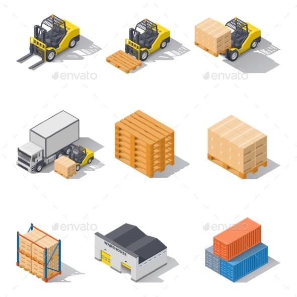 Storage Equipment Isometric Icons Set. - Miscellaneous Vectors