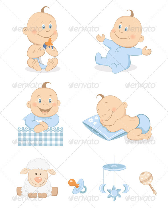 Baby boy with toys and accessories - People Characters