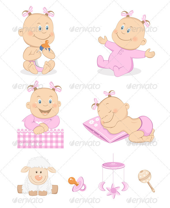 Baby girl with toys and accessories - People Characters