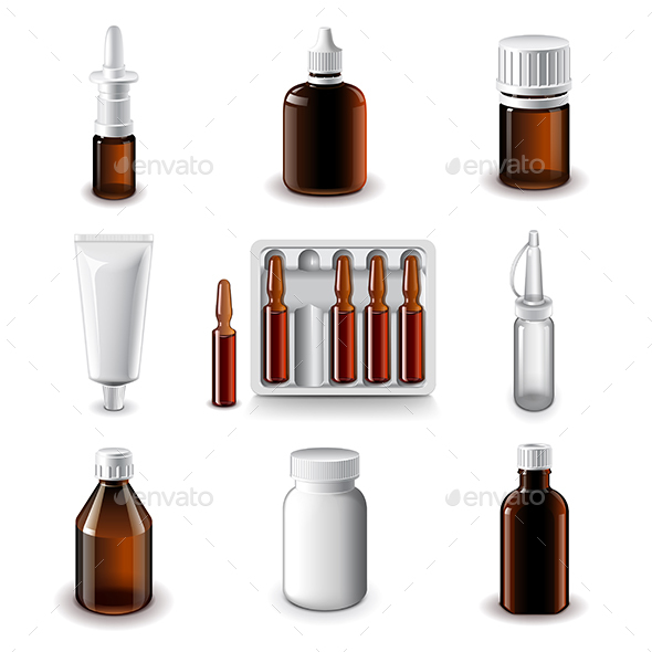Medical Bottles Icons Vector Set - Health/Medicine Conceptual