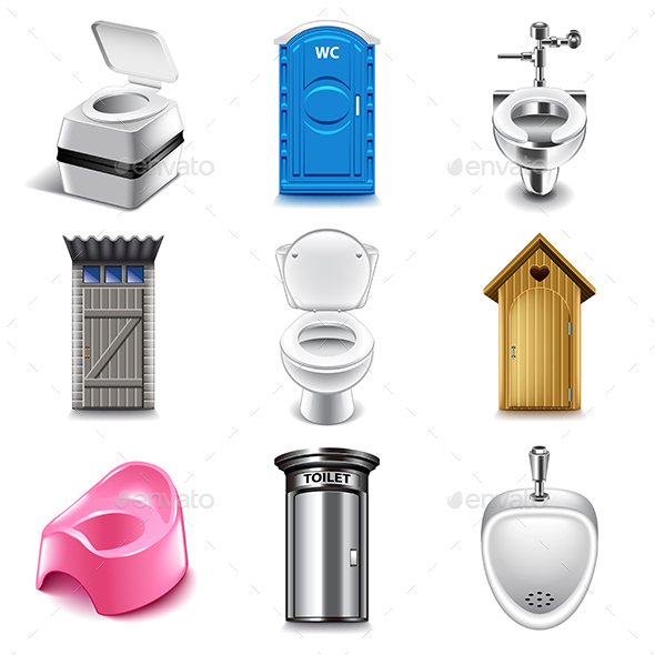 Different Toilets Icons Vector Set - Buildings Objects