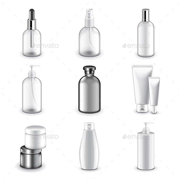 Cosmetic Bottles Icons Vector Set - Man-made Objects Objects