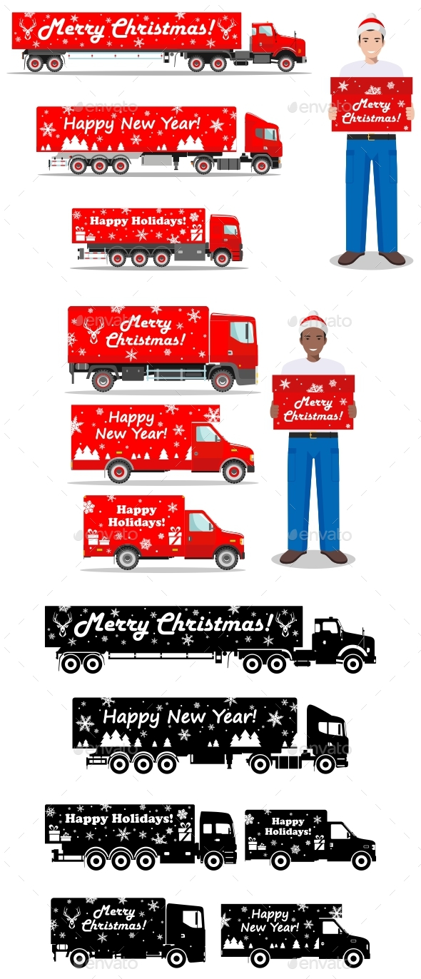 Christmas And New Year Delivery. Set Of Delivery Trucks And Deliveryman Hold The Box. - Christmas Seasons/Holidays