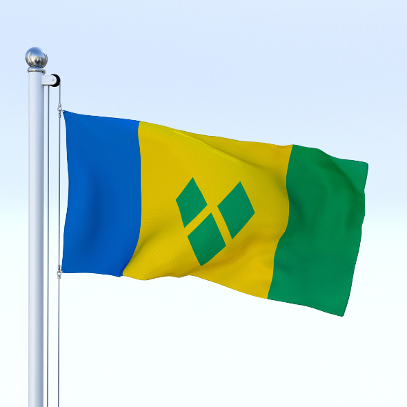 Animated Saint Vincent and the Grenadines Flag - 3DOcean Item for Sale