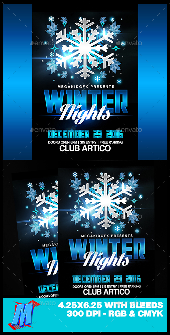 Winter Nights Flyer Template - Clubs & Parties Events