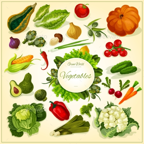 Fresh Vegetable Poster for Food Design - Food Objects