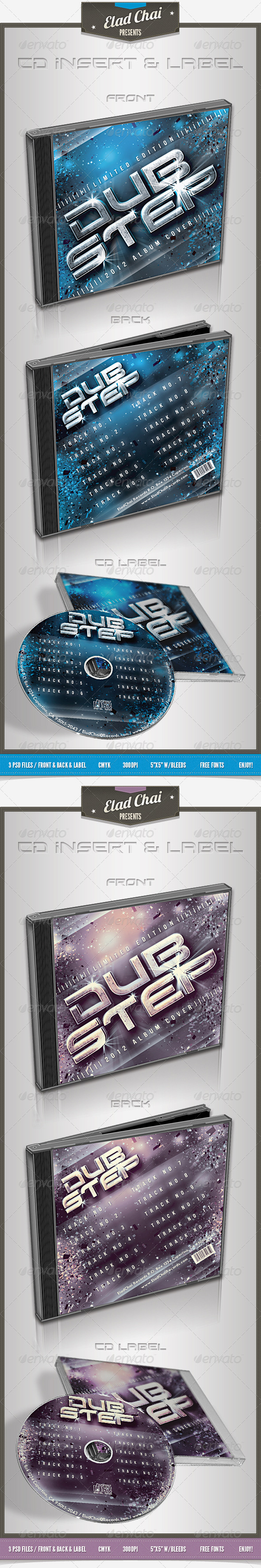 Dubstep CD Cover | Insert & Label - CD & DVD Artwork Print Templates