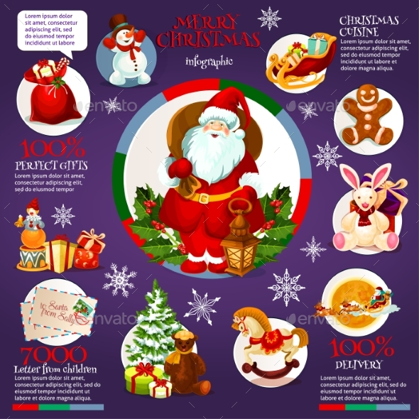 Christmas Infographic Design with Santa Claus - Christmas Seasons/Holidays