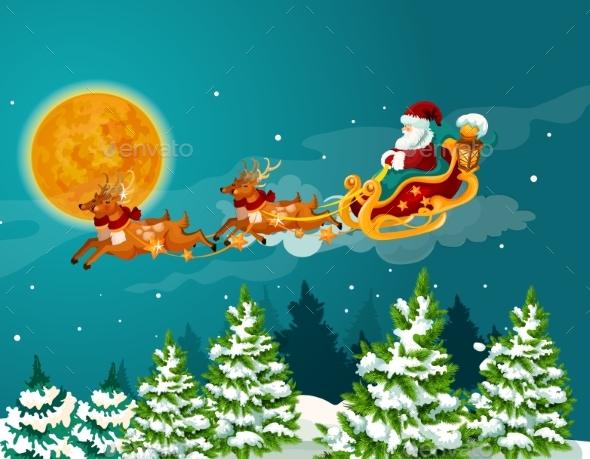 Santa Sleigh with Reindeer Christmas Poster Design - Christmas Seasons/Holidays