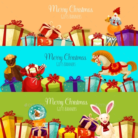 Christmas Gift and Toy Banner Set for Xmas Design - Christmas Seasons/Holidays