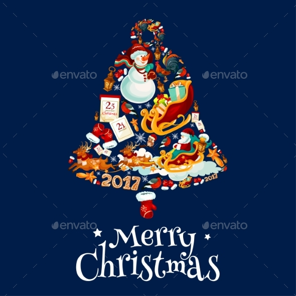 Christmas Bell with New Year Symbols Poster Design - Christmas Seasons/Holidays