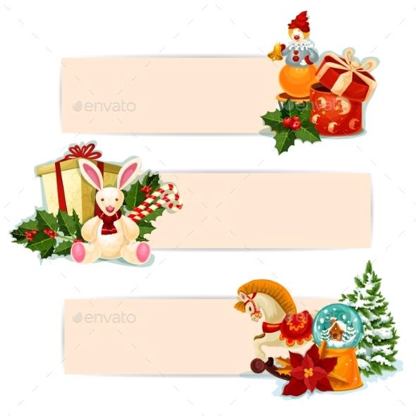 Christmas Gift, Holly and Toy Banner Set Design - Christmas Seasons/Holidays