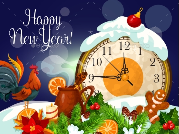 Happy New Year Poster with Clock - New Year Seasons/Holidays