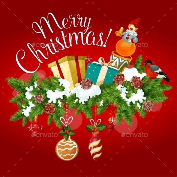 Christmas Greeting Card with Xmas Tree, Gift, Toy - Christmas Seasons/Holidays