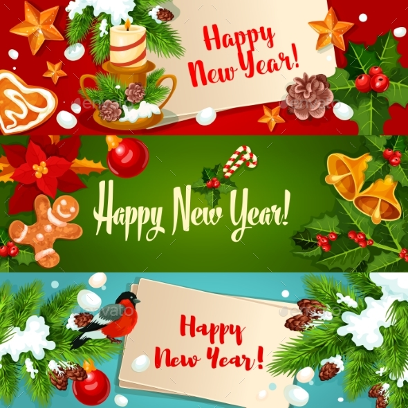 New Year Banners and Greeting Cards - New Year Seasons/Holidays