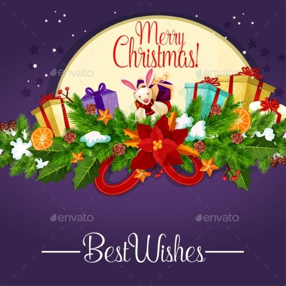 Christmas Poster with Holly Berry Garland and Gift - Christmas Seasons/Holidays
