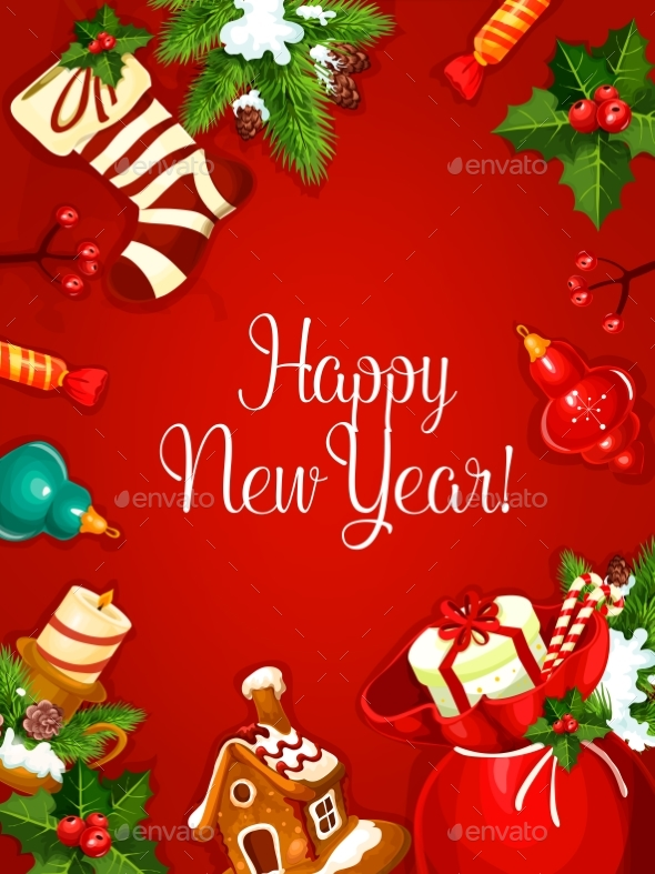 New Year Holiday Vector Poster - New Year Seasons/Holidays