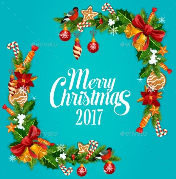 Christmas Tree, Holly Berry Garland Frame Design - Christmas Seasons/Holidays