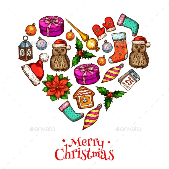 Christmas Heart with Xmas Sketches Poster Design - Christmas Seasons/Holidays