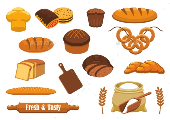 Bread and Bun Icon Set for Bakery, Food Design - Food Objects