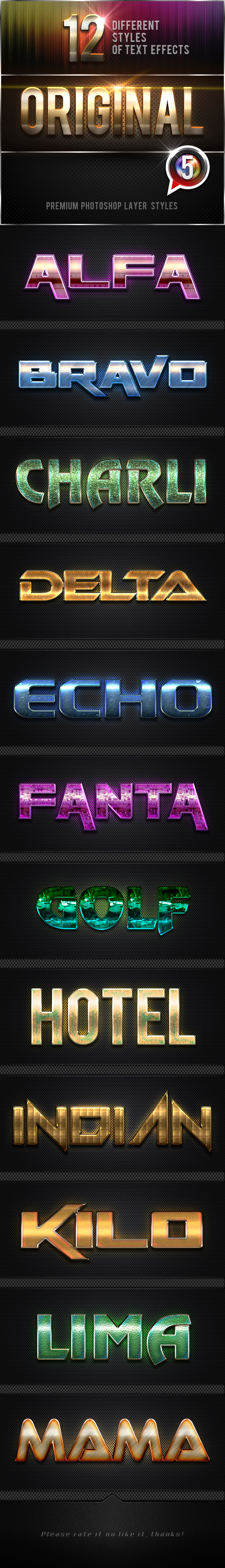 12 Original Photoshop Text Effects Vol.5 - Text Effects Styles
