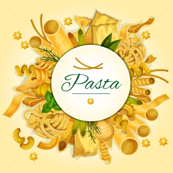 Italian Pasta, Spaghetti and Macaroni Banner - Food Objects