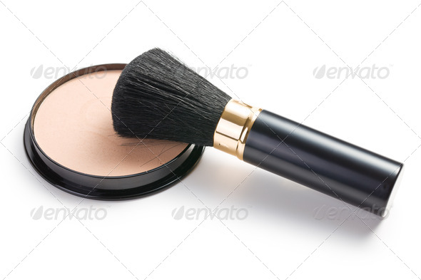 makeup brush and cosmetic powder compact - Stock Photo - Images