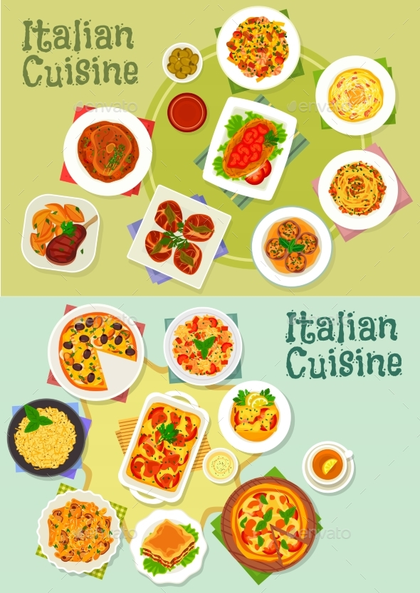 Italian Cuisine Pasta and Pizza Dishes Icon - Food Objects