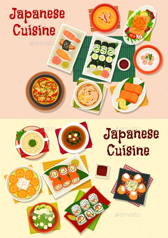 Japanese Cuisine Seafood Sushi Icon Set - Food Objects